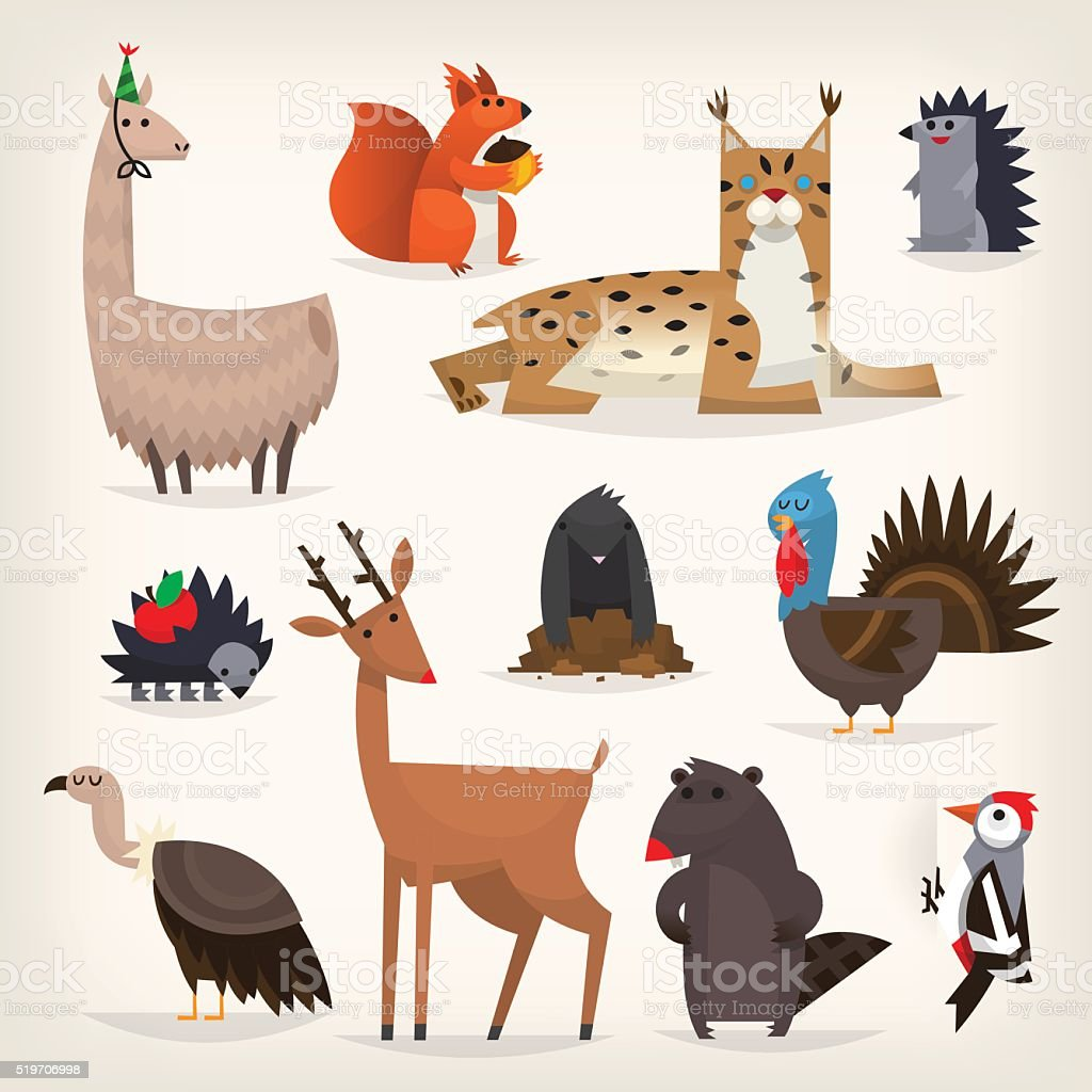 Various forest animals vector art illustration