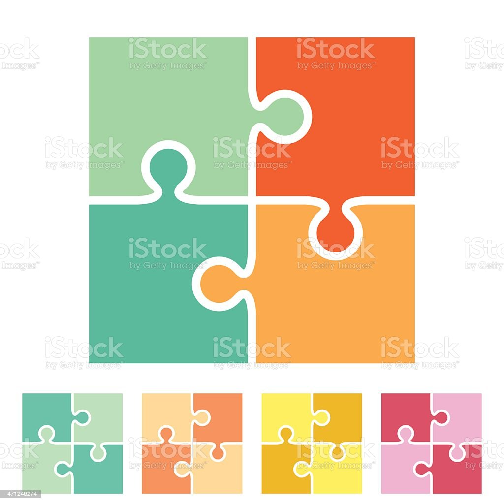 Various four piece puzzles in multiple colors vector art illustration