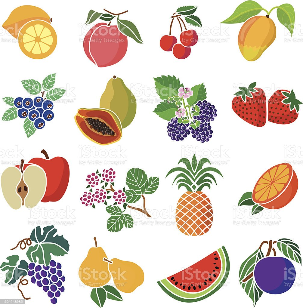 various fruits and berries vector art illustration