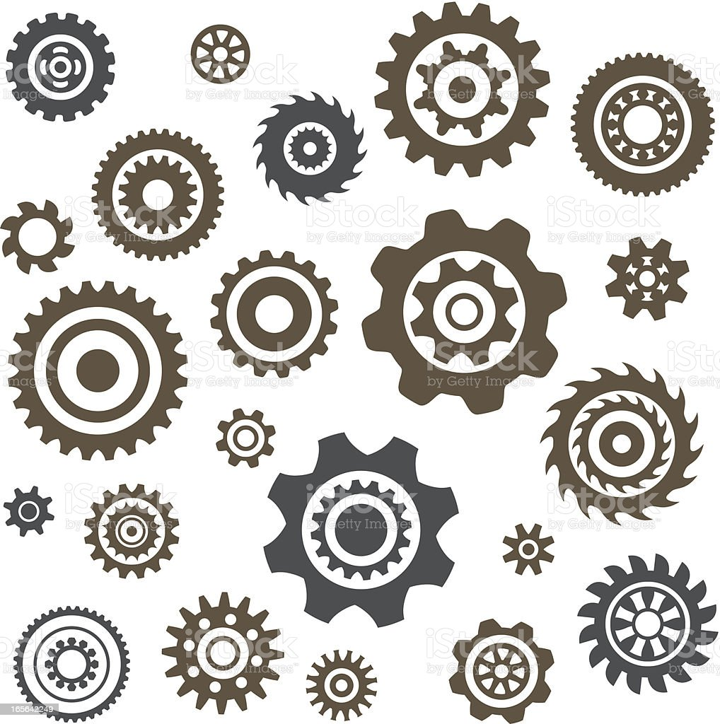 Various gears laying across a white background royalty-free stock vector art