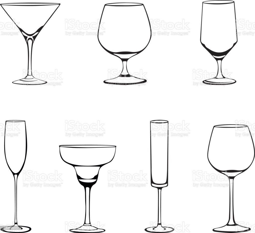 Various glass drinkware vector art illustration