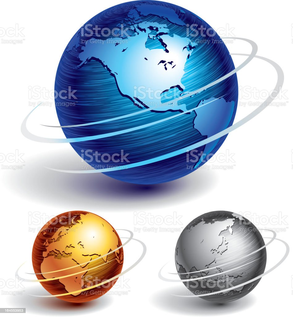 Various globes of different colors and sizes vector art illustration