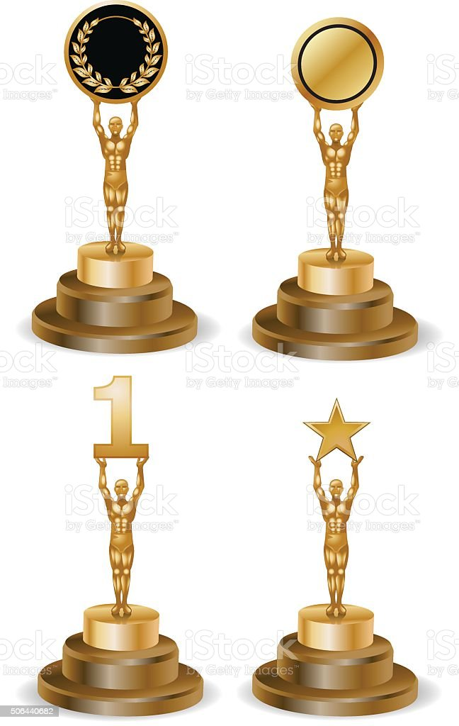 various golden statue vector art illustration