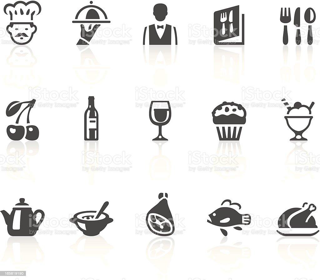 Various gray illustrated restaurant icons vector art illustration