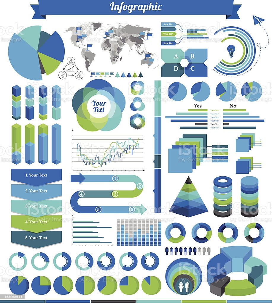 Various green and blue infographics on white background royalty-free stock vector art
