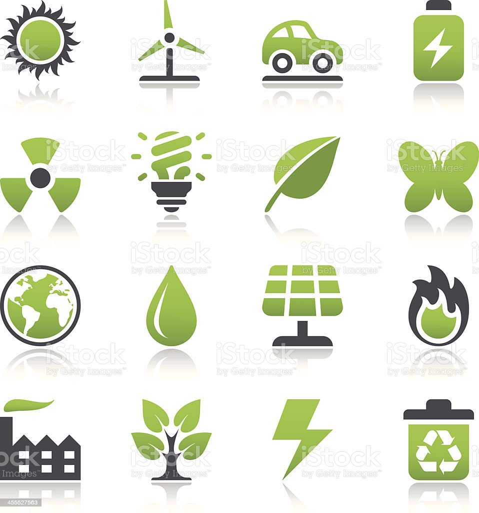 Various green ecology icons isolated on white royalty-free stock vector art