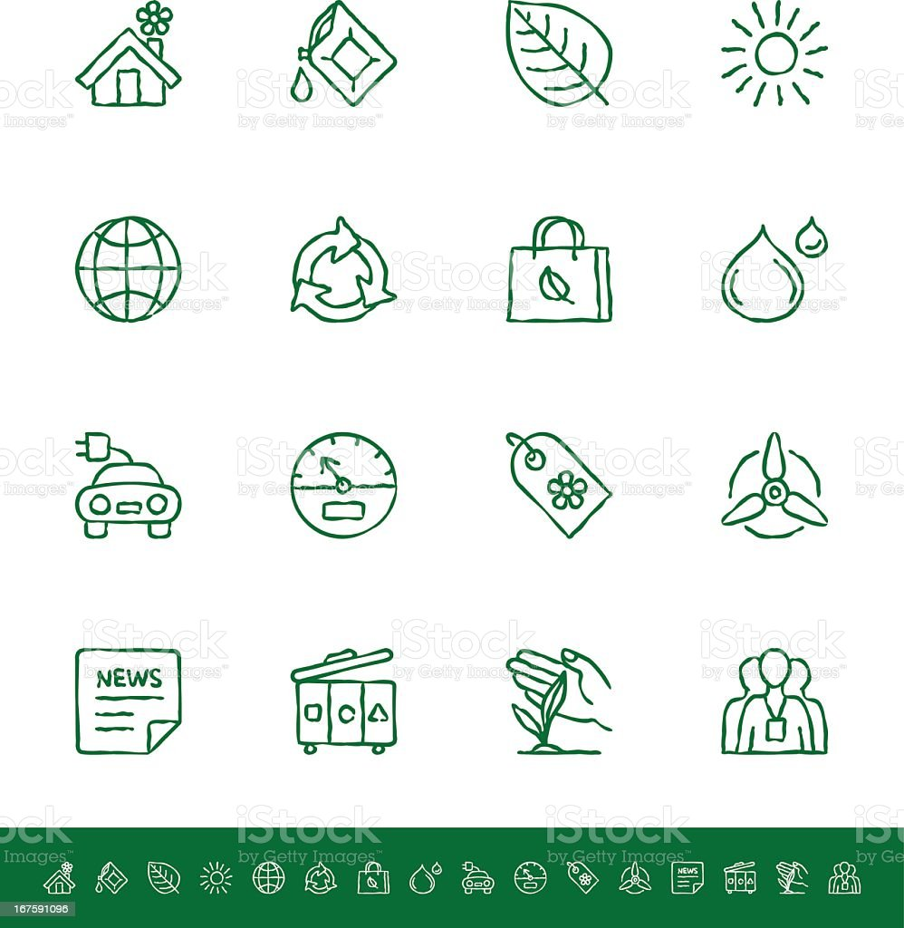 Various green ecology-related icons royalty-free stock vector art