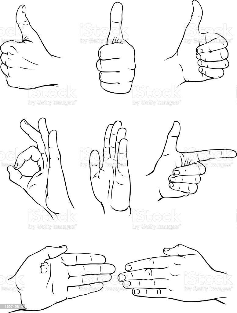 Various hand forms 3 vector art illustration