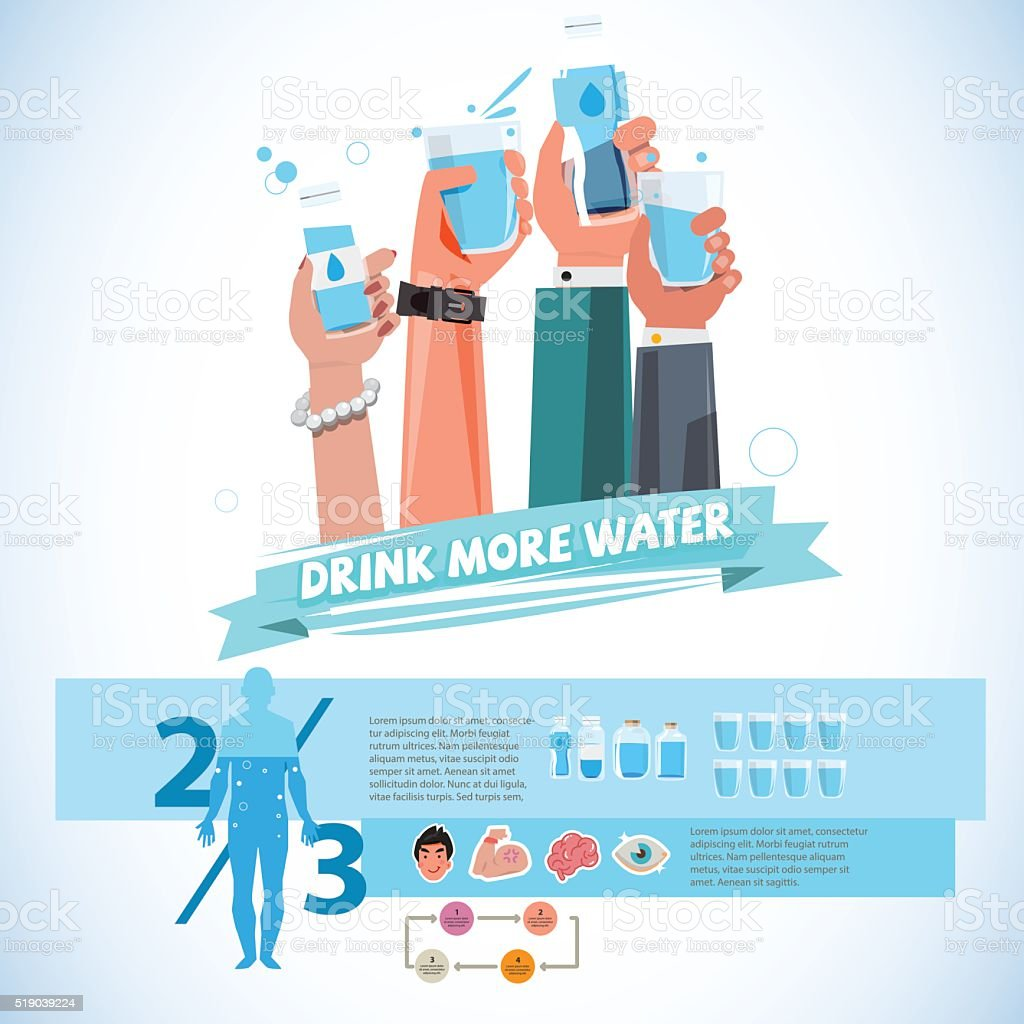 various Hands holding bottle and cup of drink water. vector art illustration