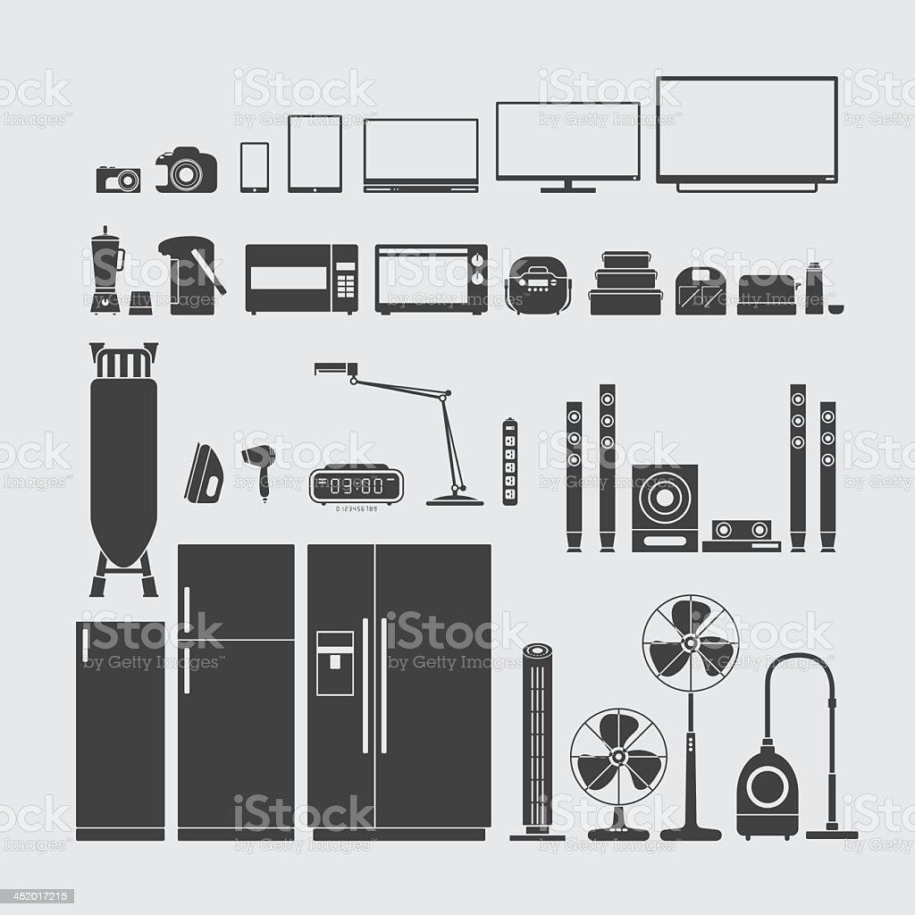 Various home appliance symbols in dark gray vector art illustration