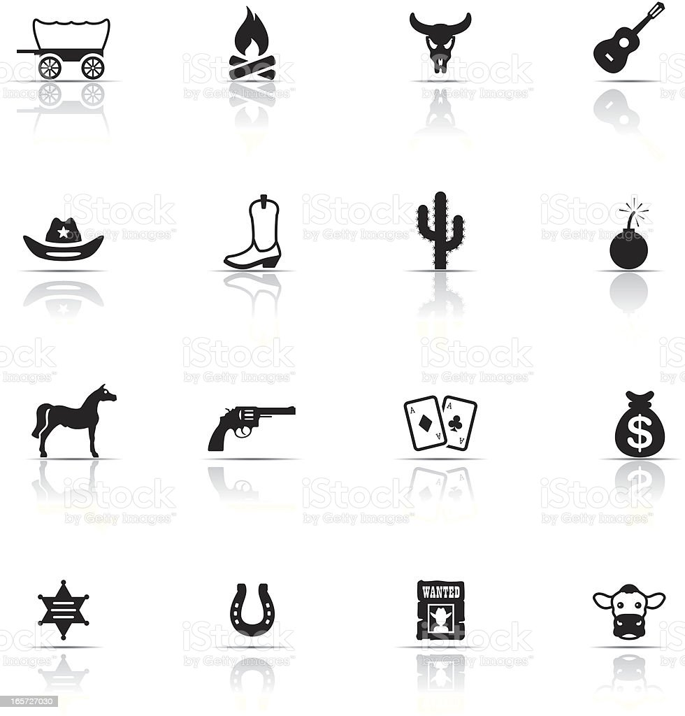 Various icon sets for Cowboys and horses vector art illustration