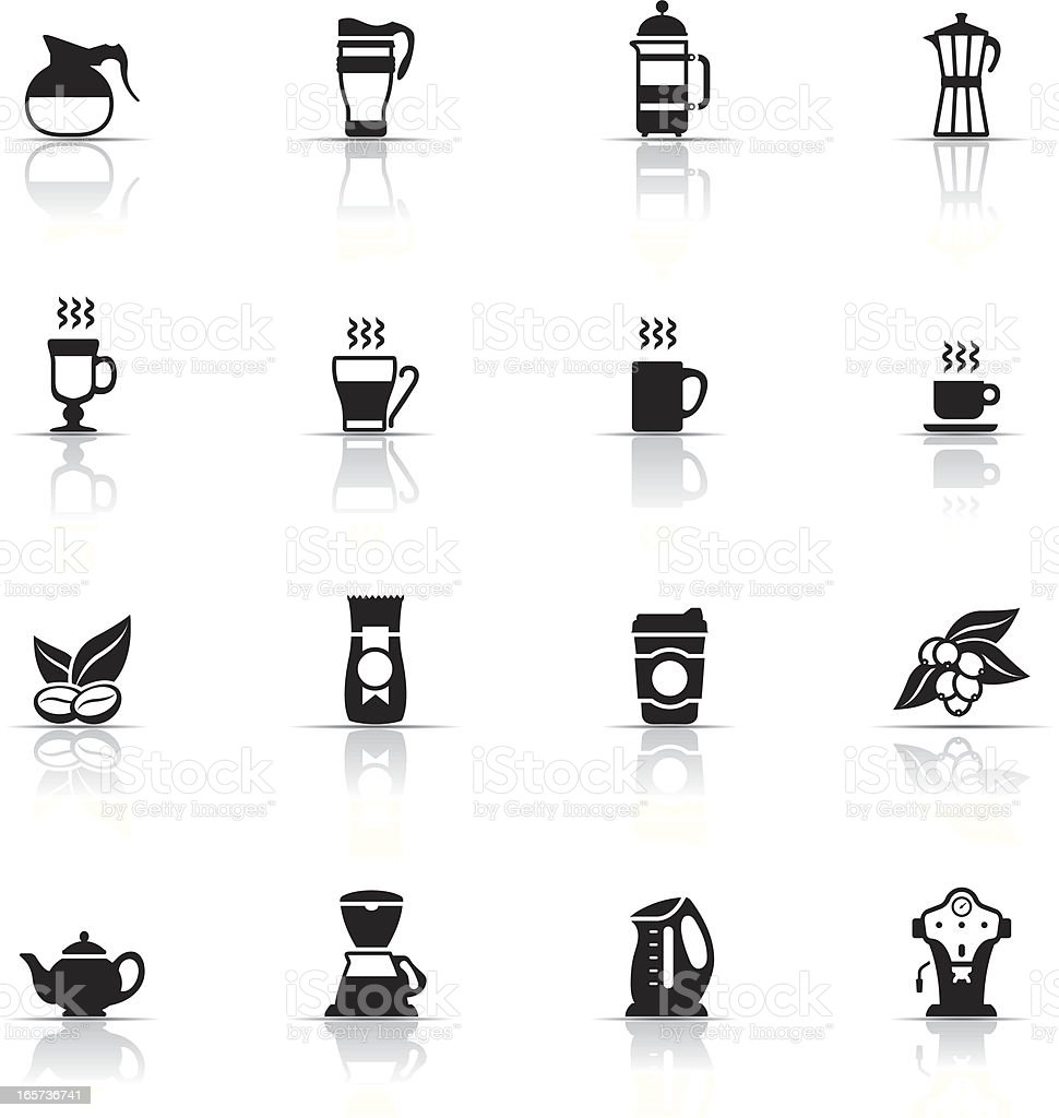 Various icons about coffee with reflections vector art illustration