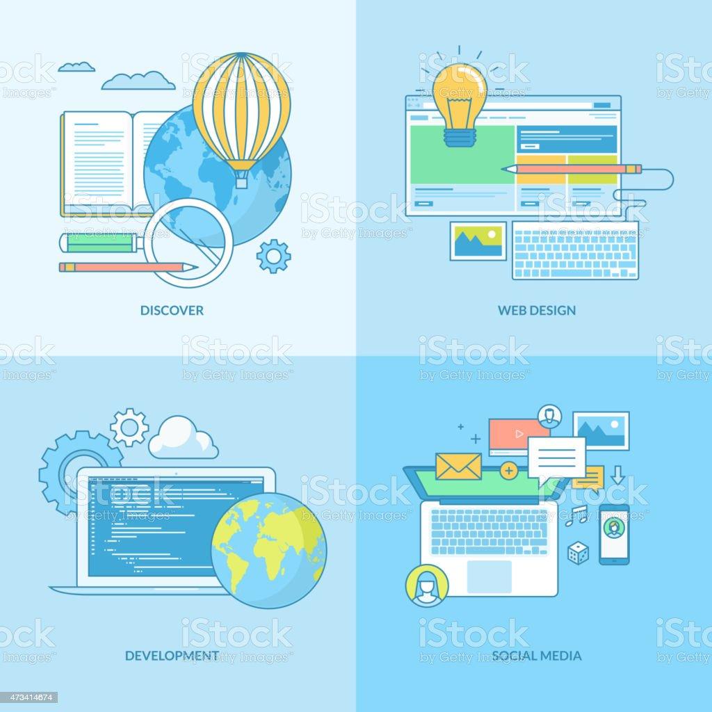 Conjunto de iconos de concepto de desarrollo web illustracion libre de derechos libre de derechos