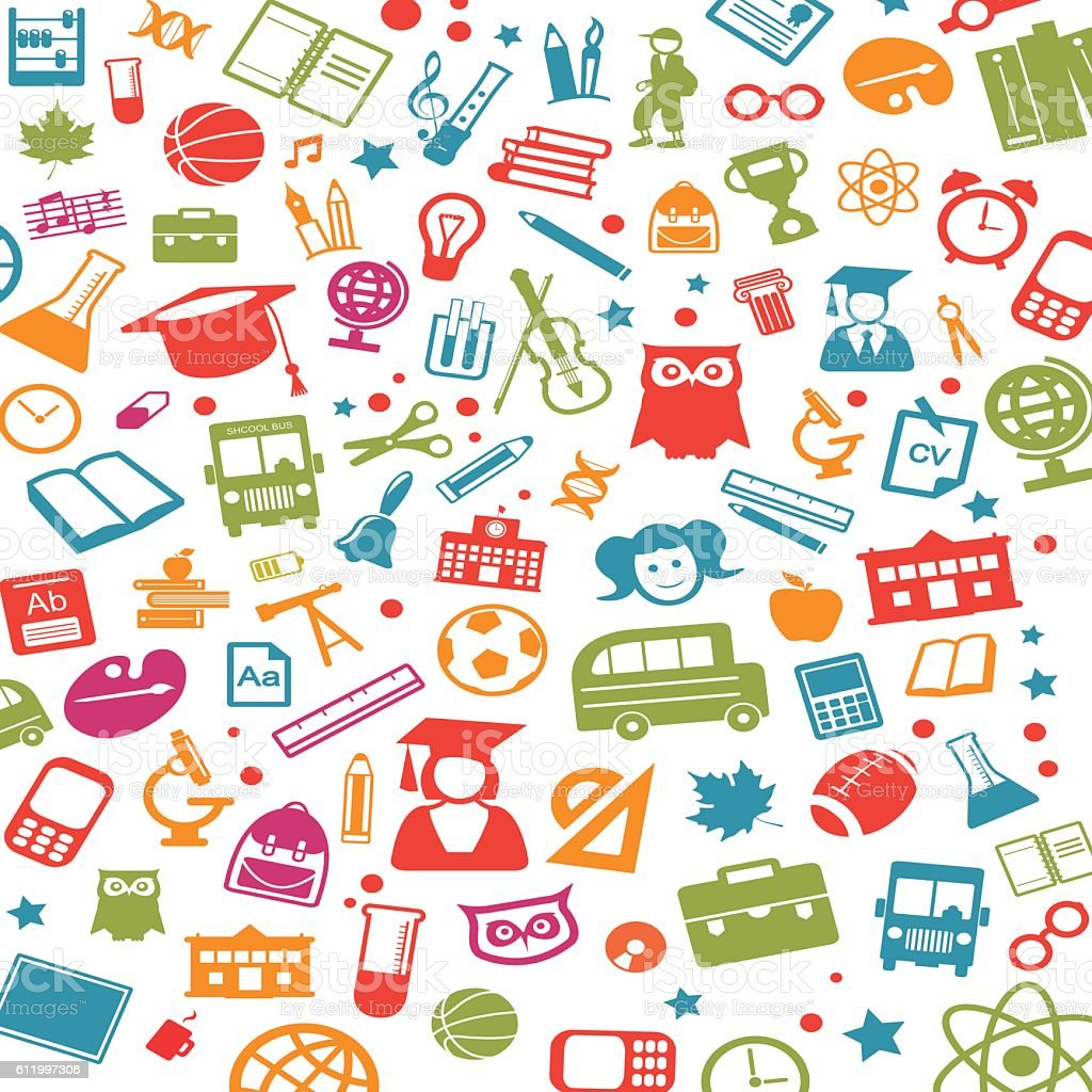 Various icons for school studies vector art illustration