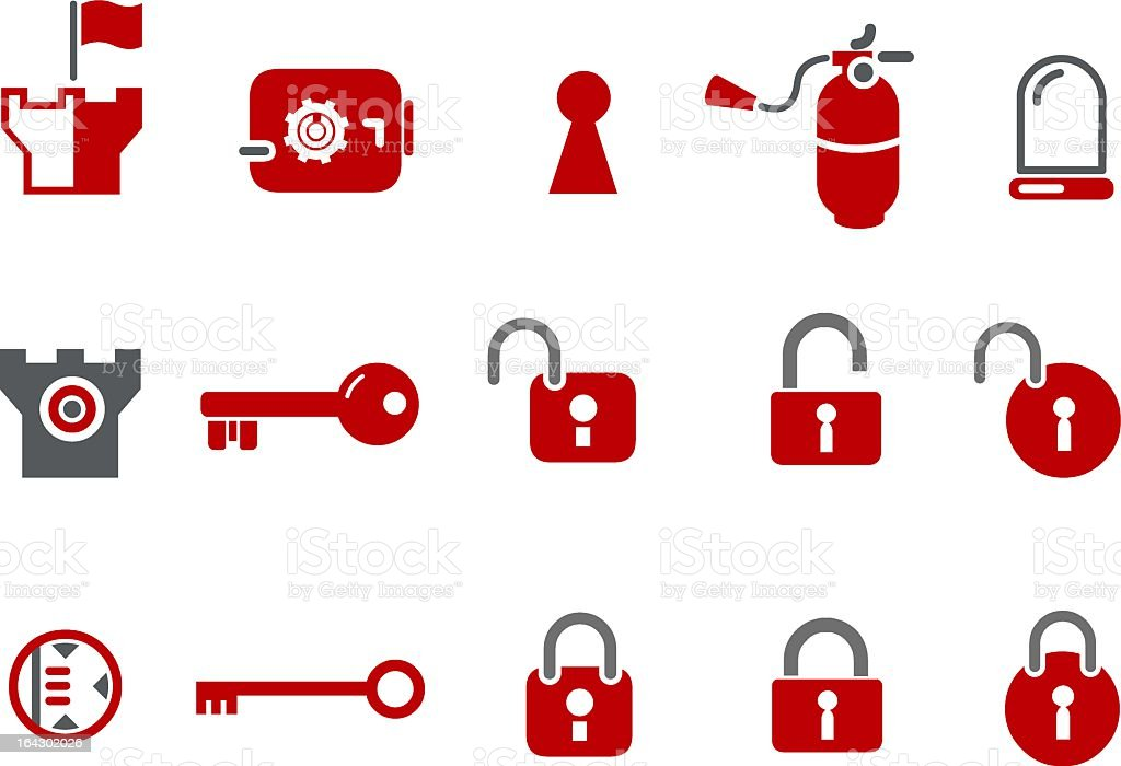 Various icons of security and safety  vector art illustration