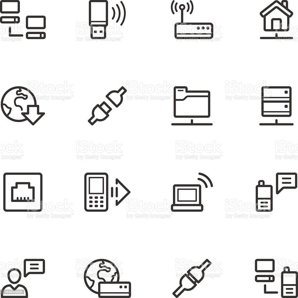 Various icons related to communications vector art illustration
