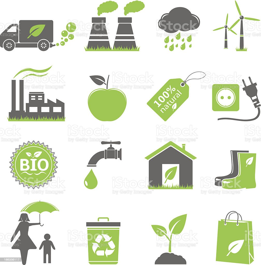 Various icons related to eco solutions royalty-free stock vector art