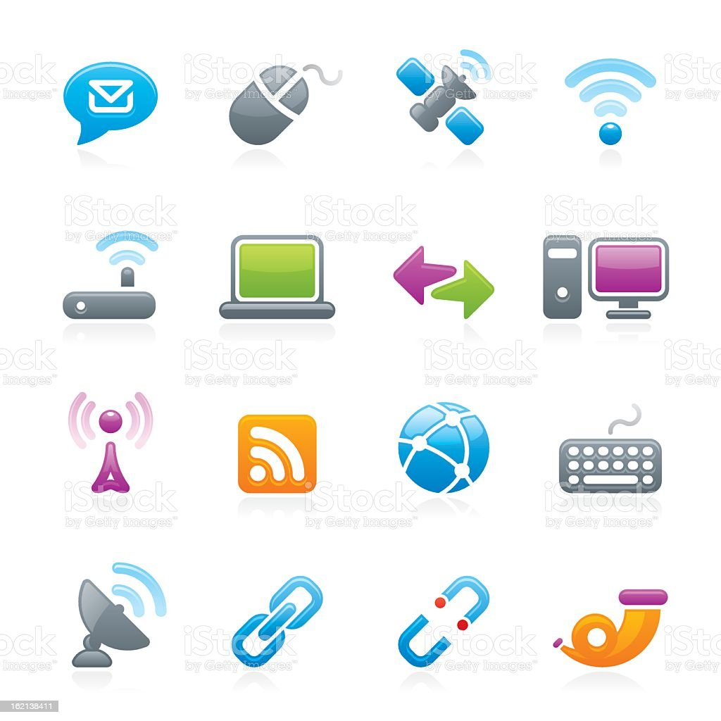 Various icons related to telecommunications royalty-free stock vector art