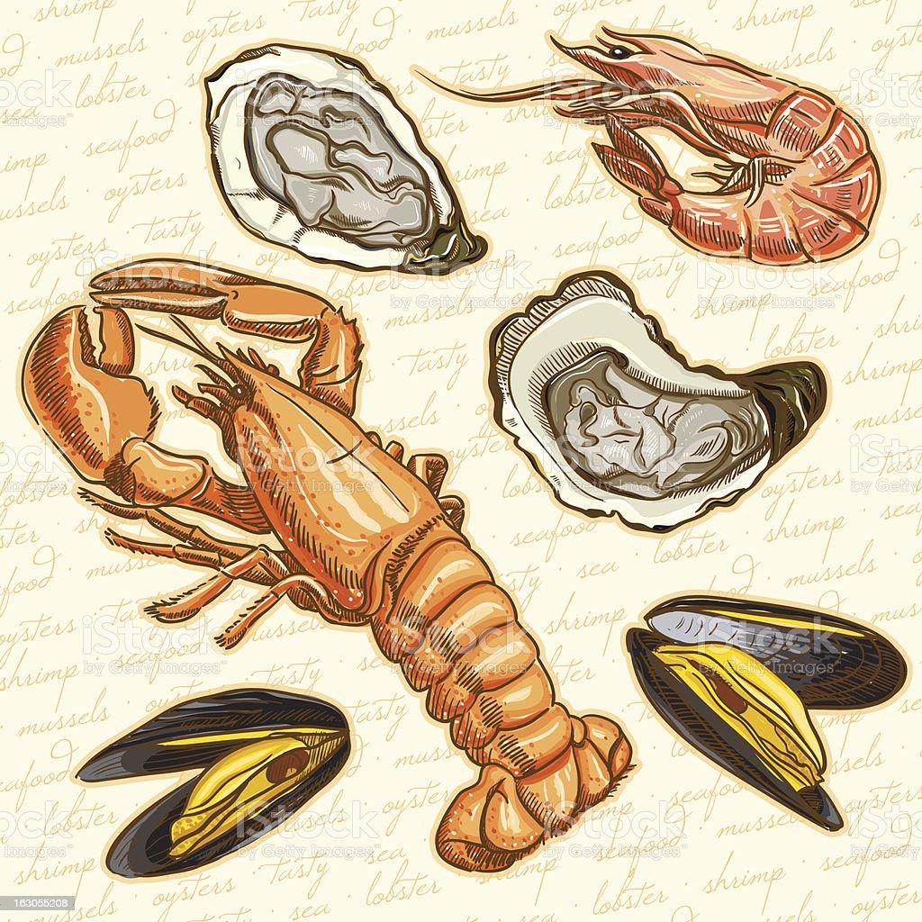 Various illustration of seafood vector art illustration