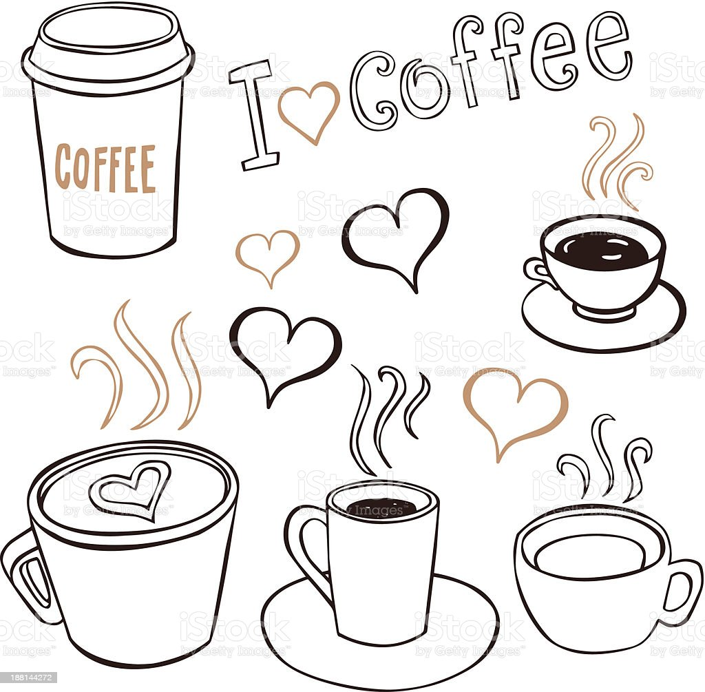 Various images representing the love of coffee vector art illustration