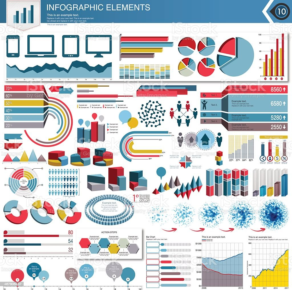 Various infographic elements on white background  royalty-free stock vector art