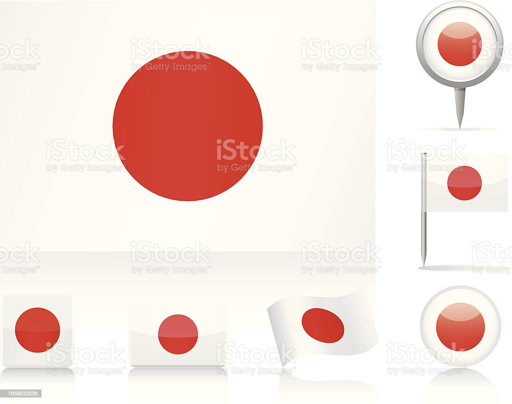 Various interpretations of the flag of Japan vector art illustration