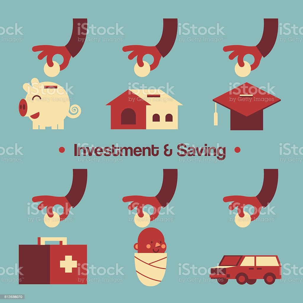 Various Investment & Saving Present by Hands vector art illustration