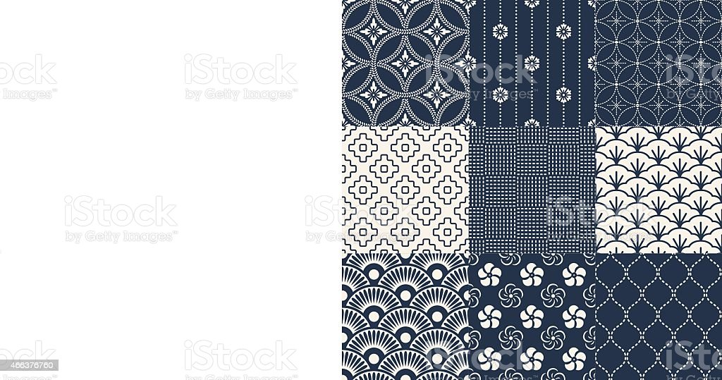 Various Japanese pattern of traditional mesh  vector art illustration