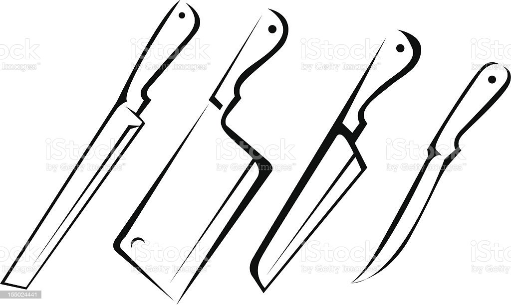 Various Kind of Knife Line Art royalty-free stock vector art