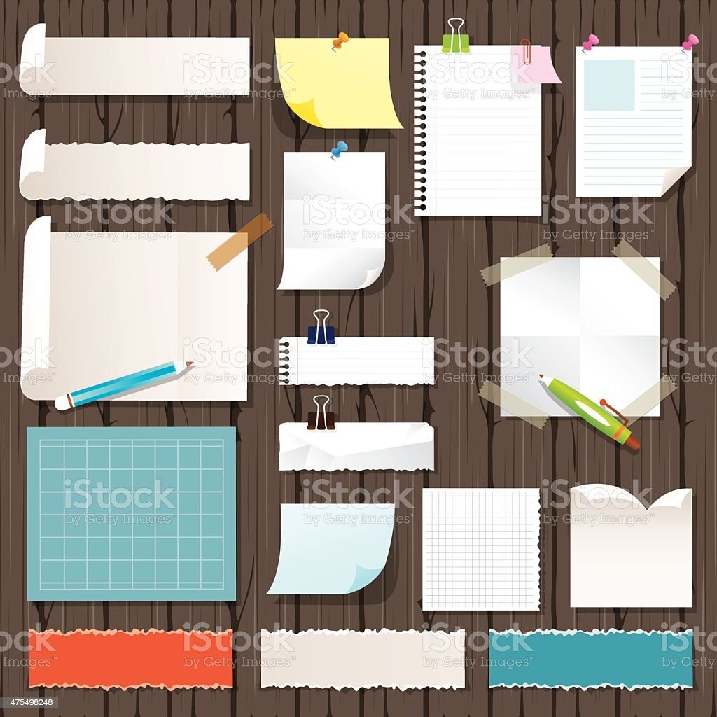 Various Kind of Paper Objects on Wood Background vector art illustration