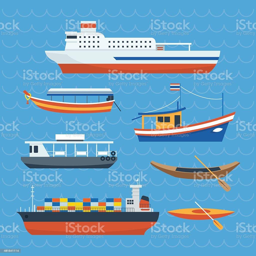 Various kind of Ship, Boat, Ferry vector art illustration