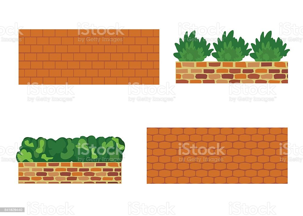 Various kinds of stone wall for garden vector art illustration
