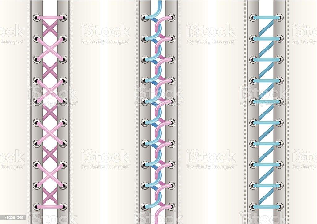 Various lacing vector art illustration