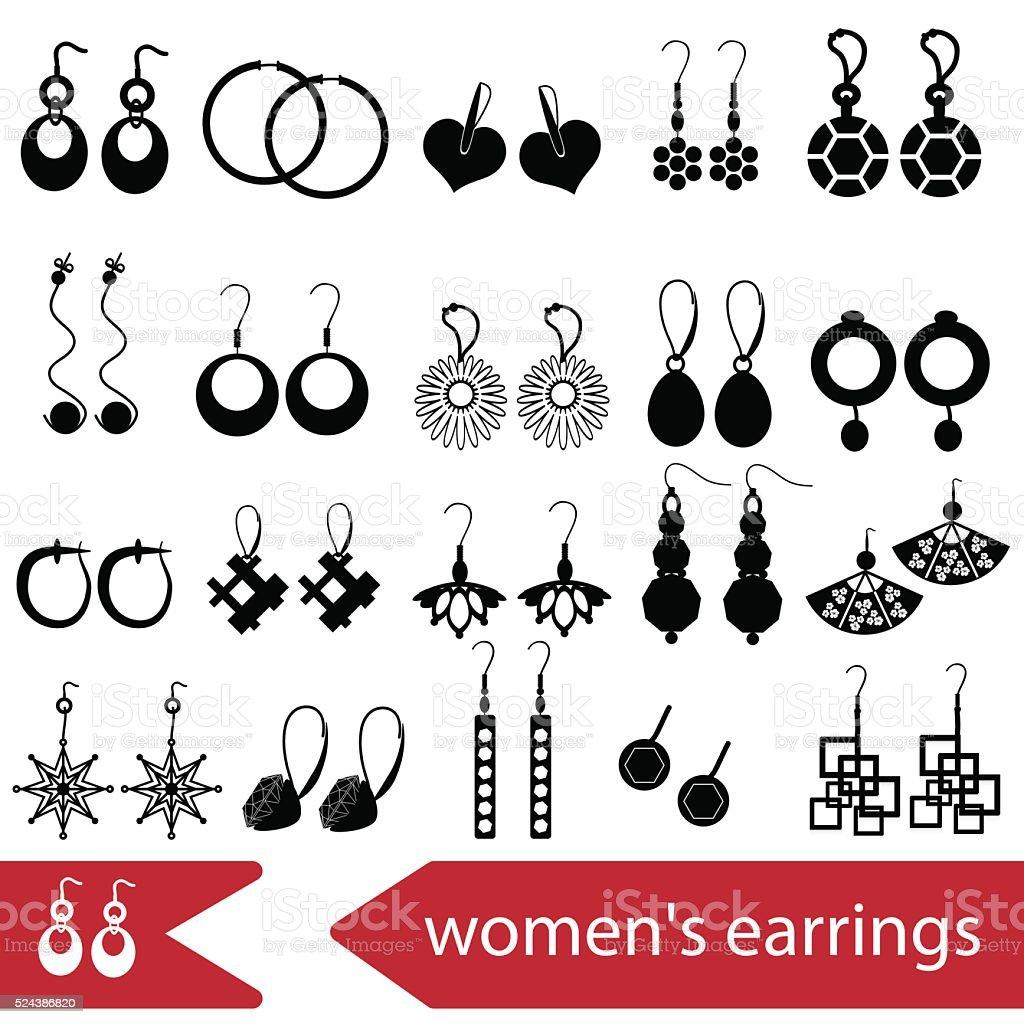 various ladies earrings types set of icons eps10 vector art illustration