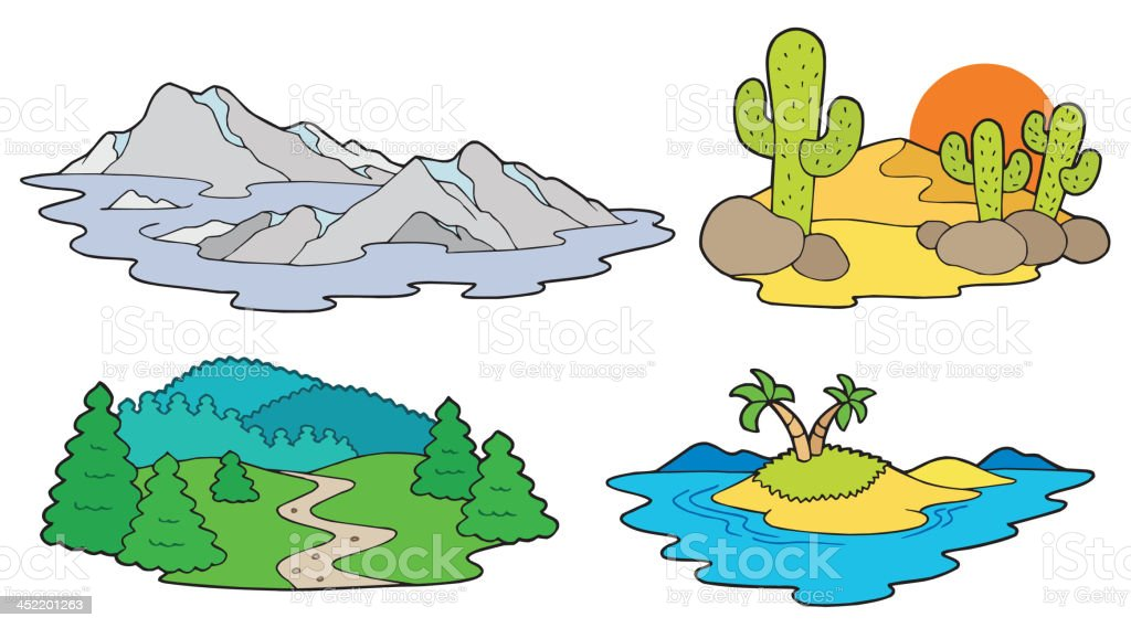 Various landscapes collection royalty-free stock vector art