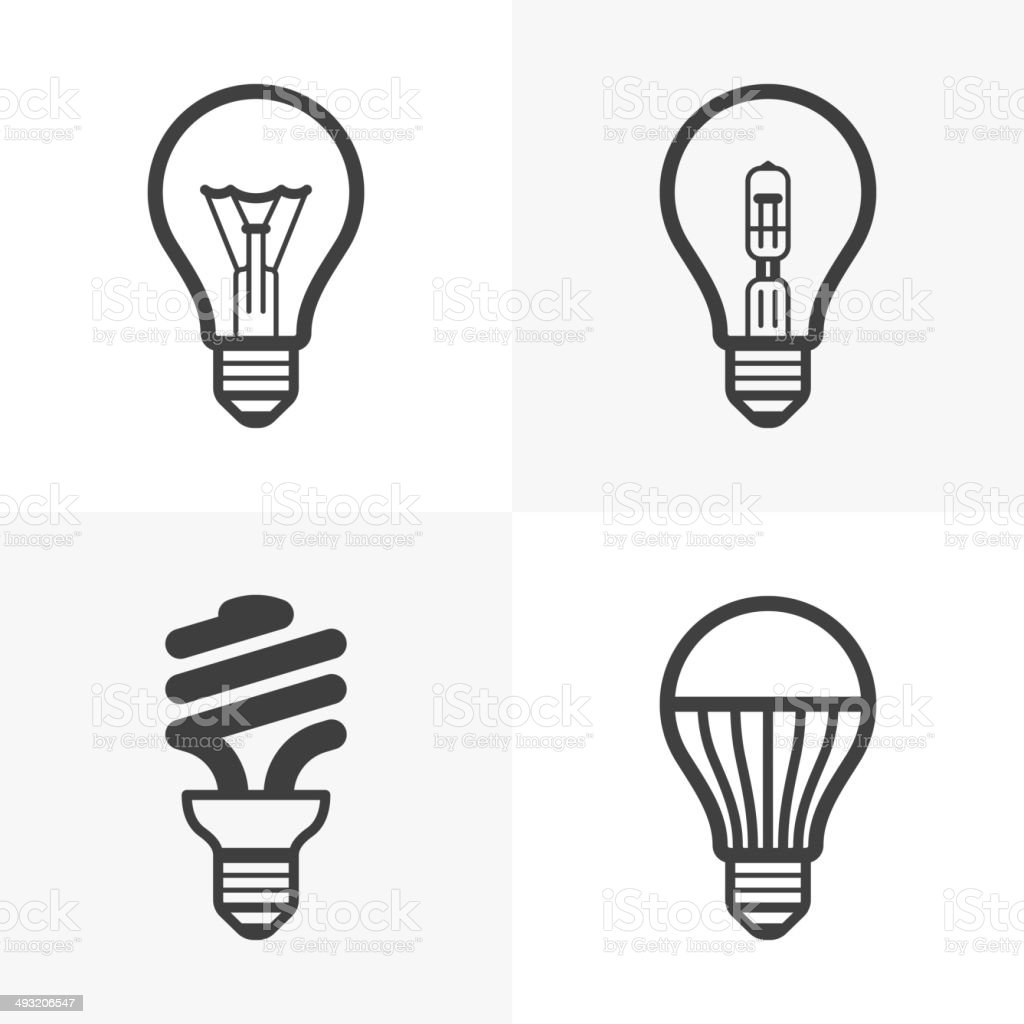 Various light bulb icons vector art illustration