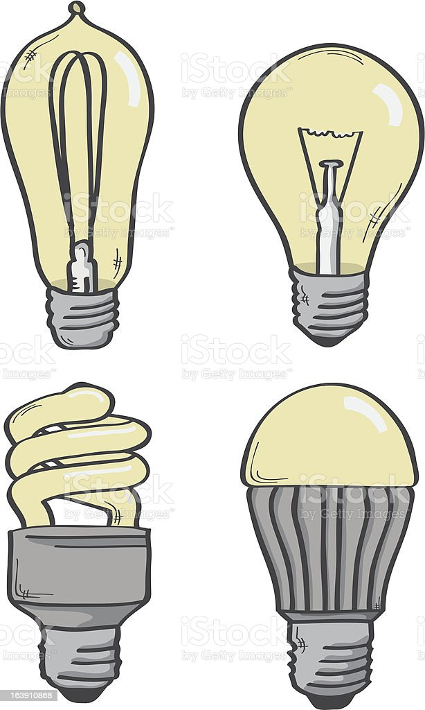 Various Light Bulbs vector art illustration