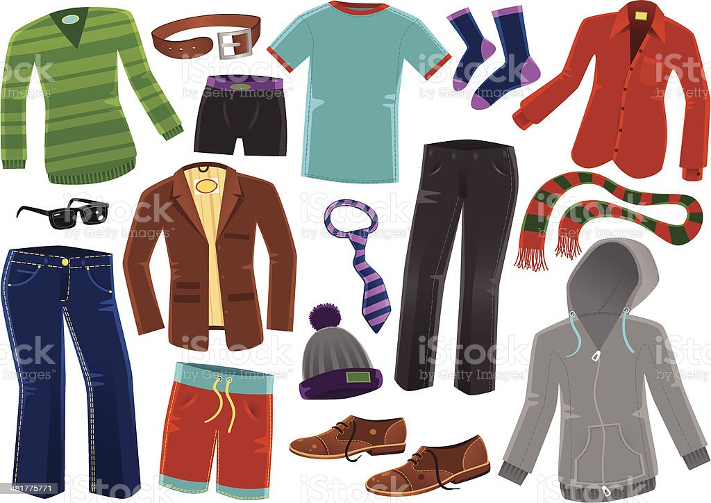 Various male clothing items vector art illustration