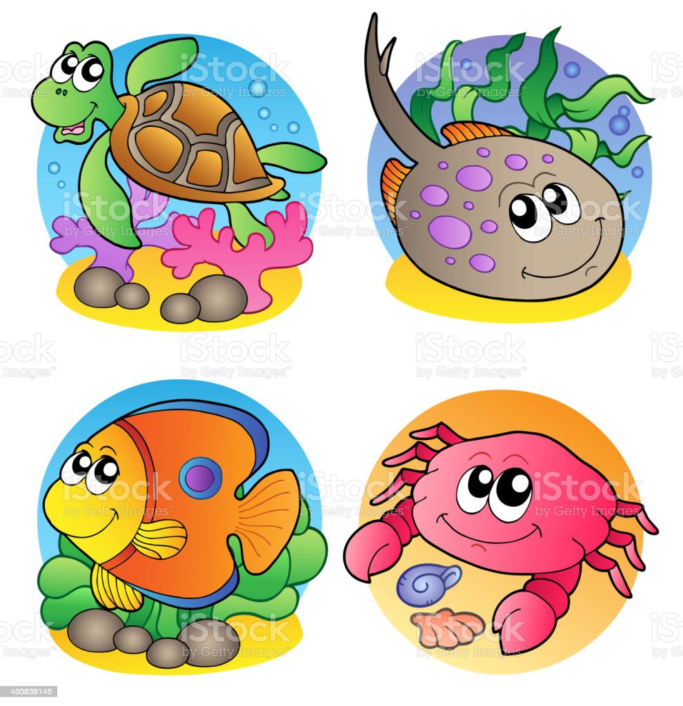 Various marine animals images 1 royalty-free stock vector art