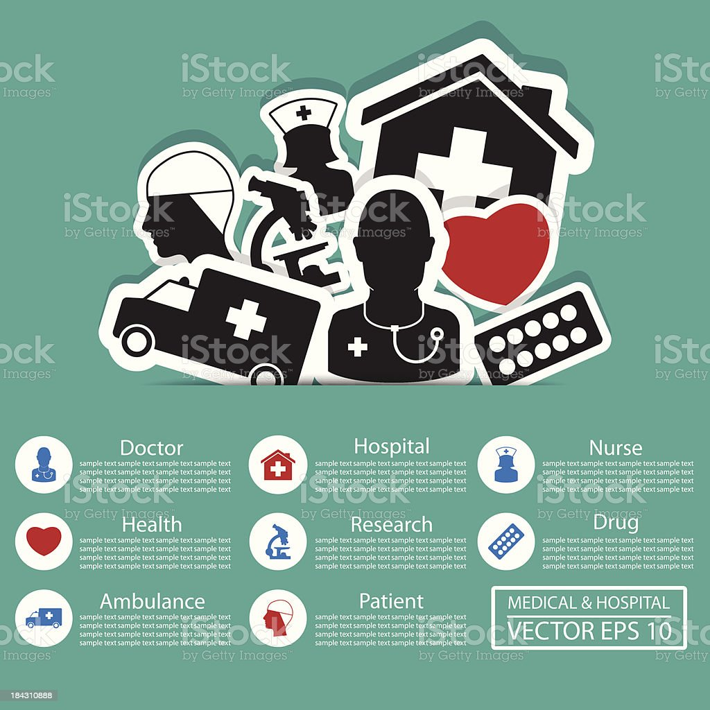 Various medical icons with text royalty-free stock vector art