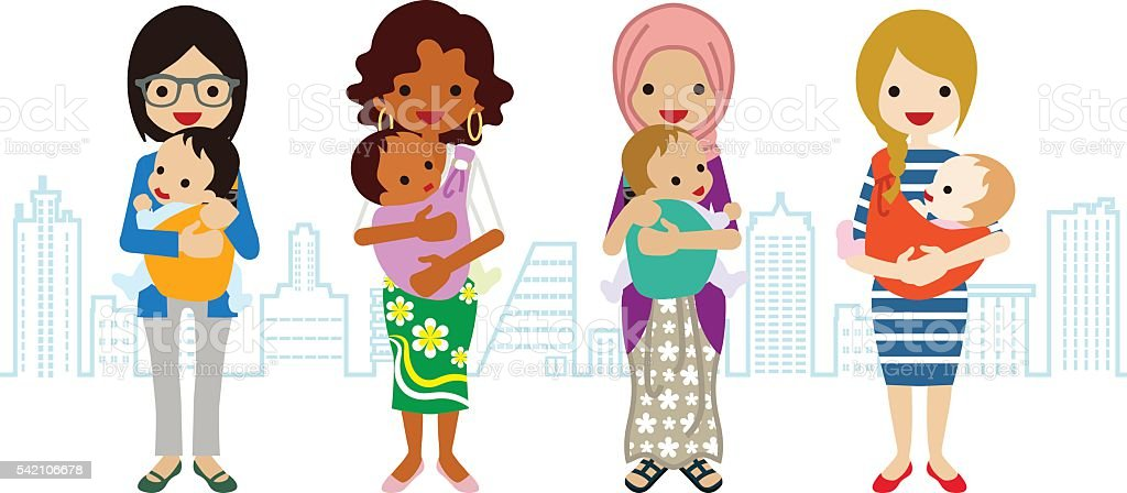 Various Mom and Baby -Multi-Ethnic Group vector art illustration