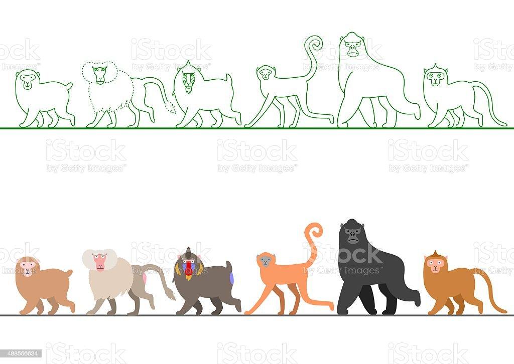 various Monkey walking in a row vector art illustration
