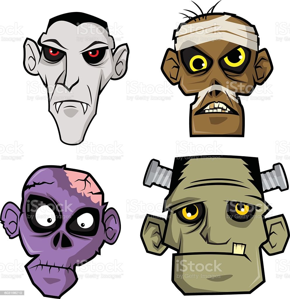 Various Monsters Head vector art illustration