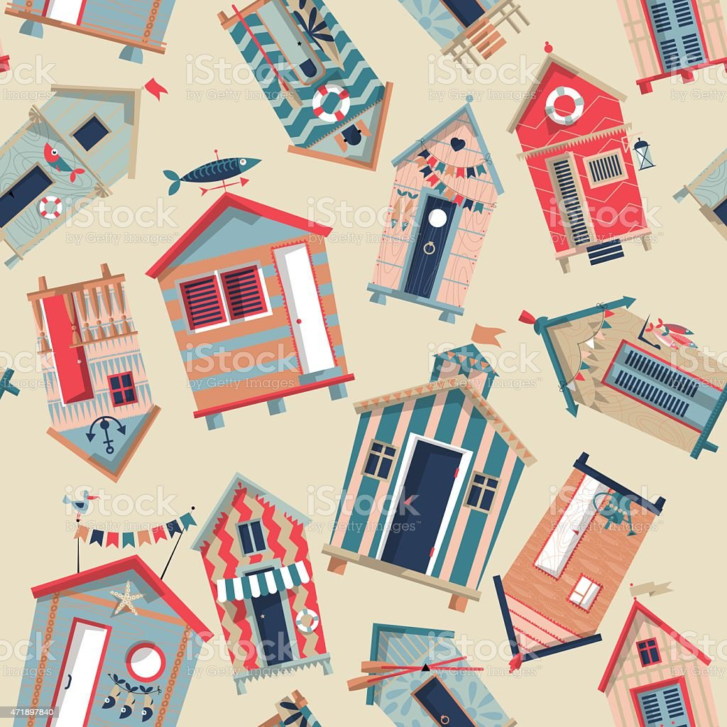 Various multi-colored Beach Huts. Seamless background pattern. vector art illustration