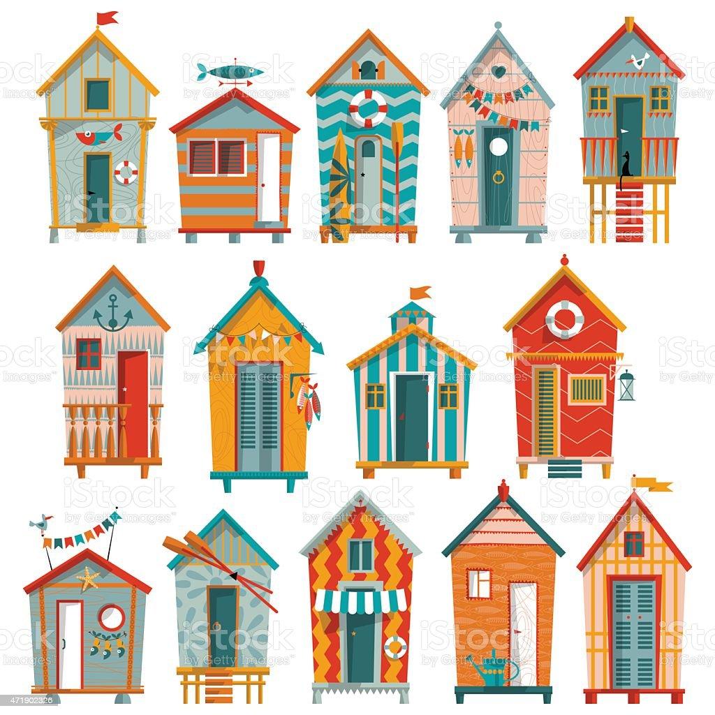 Various multi-colored Beach Huts. vector art illustration