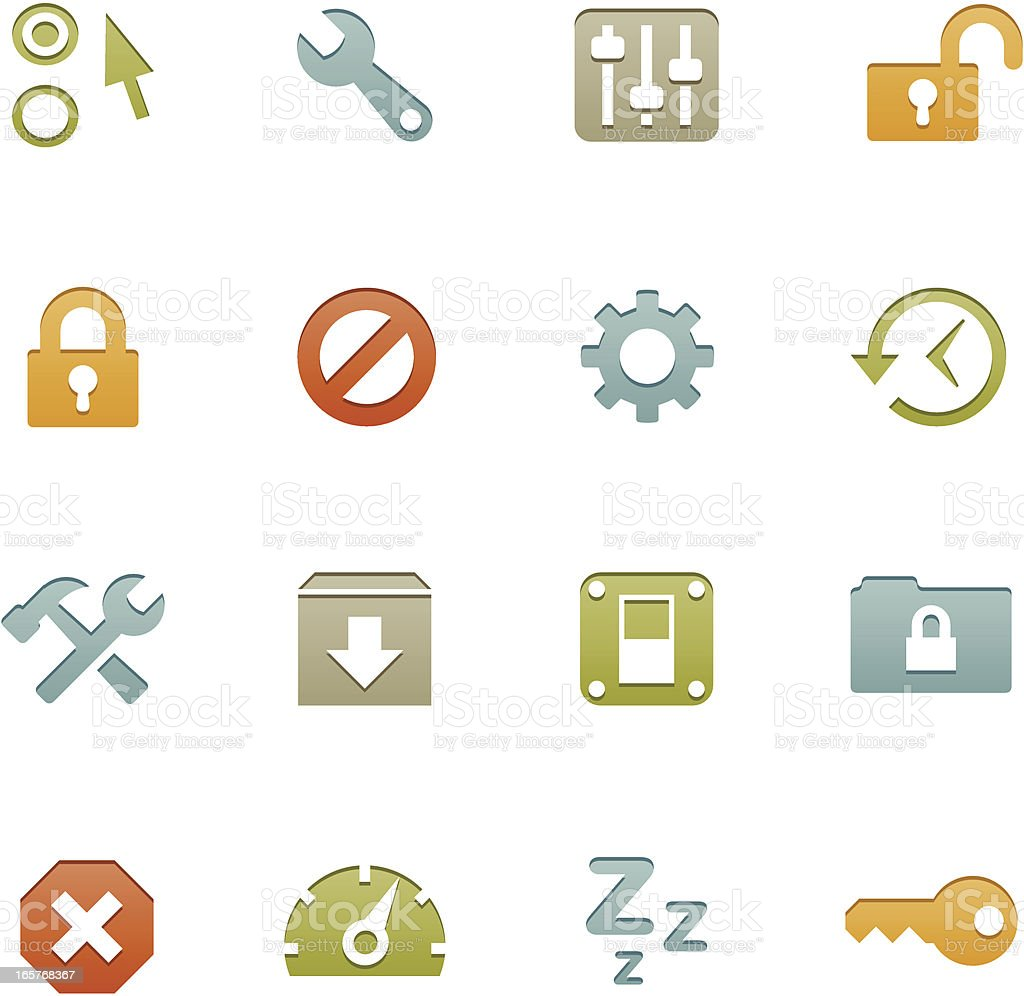 Various multicolored setting icons on white background royalty-free stock vector art