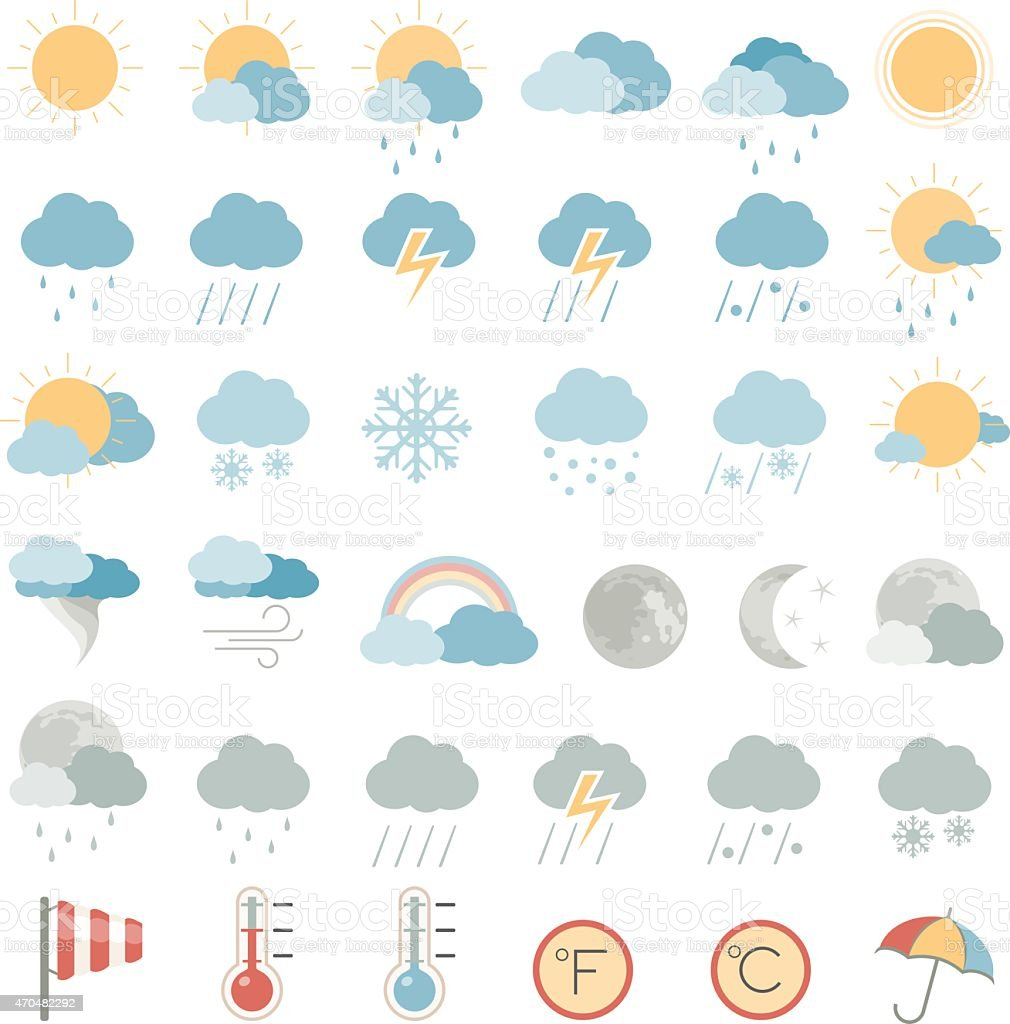 Various multicolored weather icons vector art illustration