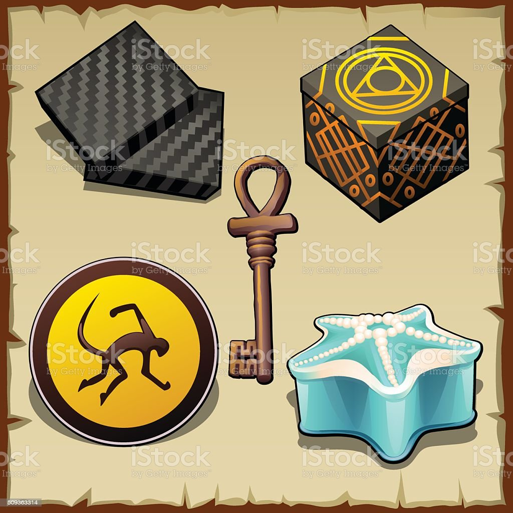 Various mysterious objects from boxes and symbols vector art illustration