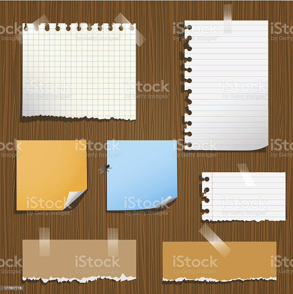 Various note paper taped to board vector art illustration