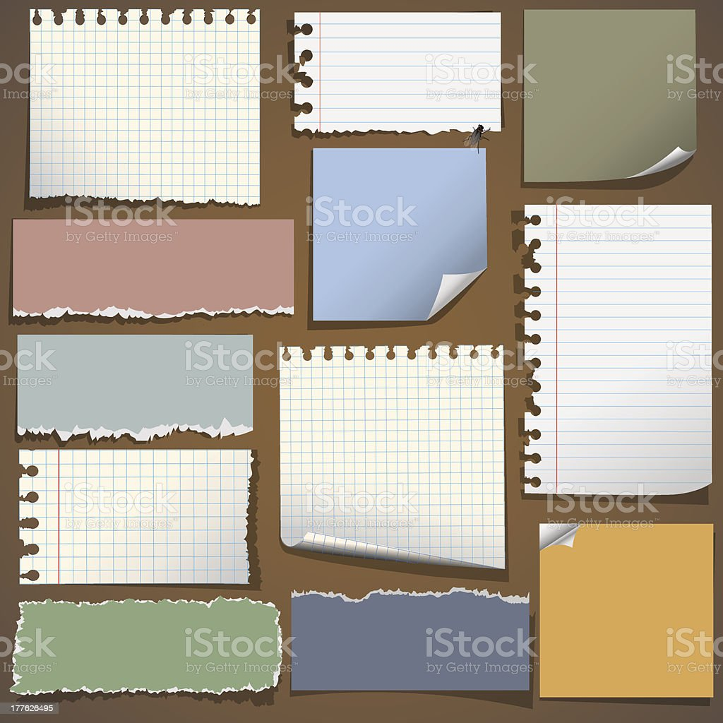 Various notes paper vector art illustration